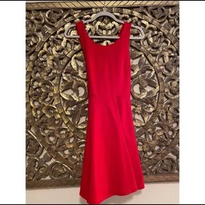 Red Skater Dress with criss crossed back.